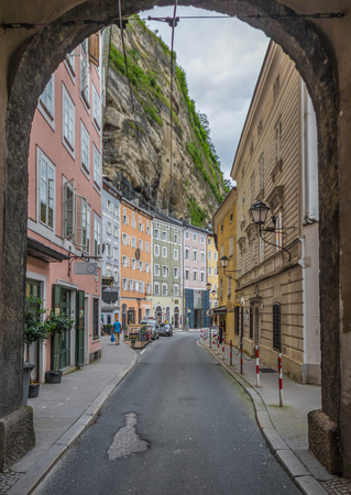 Salzburg, Austria -  a UNESCO World Heritage Site due to its wonderful baroque architecture, Salzburg presents a lot of tunnels which are often made underneath palaces and residential buildings