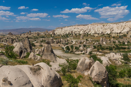 Goreme, Turkey - A Unesco World Heritage site, Cappadocia is famous for its fairy chimneys, churches and castles carved in the rock, and a unique heritage 報道画像