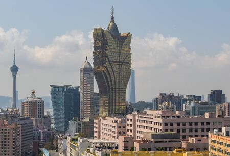 Macau, China - Portuguese colony until 1999, Unesco World Heritage site, Macau has many landmarks from the colonial period, and an impressive contemporary architecture. Here it's wonderful skyline Editorial