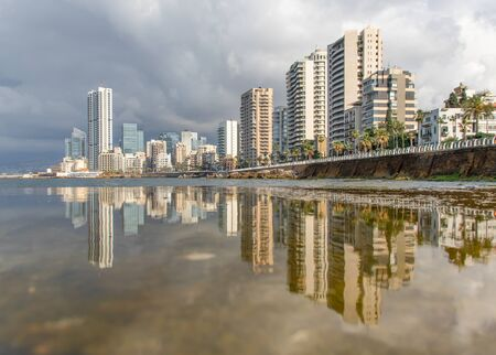 Beirut, Lebanon - one of the most famous spot of Beirut, the Corniche is a lovely place for a stroll or jogging. Here in particular its skyline
