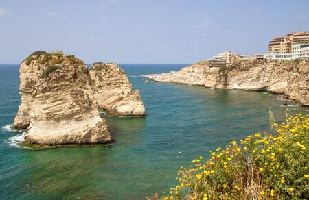 Beirut, Lebanon - probably the most popular landmark in Beirut, the Raouch? Rocks are a wonderful spot visited by thousands of tourists every day Imagens