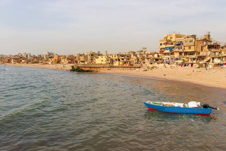 Beirut, Lebanon - once a popular bathing spot, the Saint Simon beach today is a pretty messy district with rundown buildings and trash all over. Still it can dispay beautiful views
