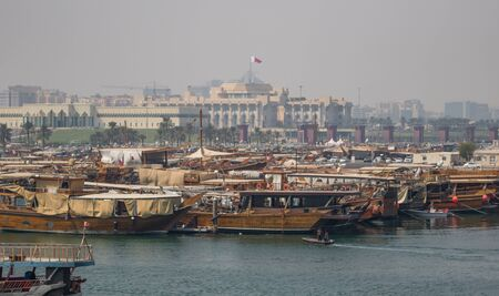 Doha, Qatar - located at the Eastern side of the Corniche, the Dhow Harbor is one of the main landmarks of Doha, and show a full display of traditional boats and vessels
