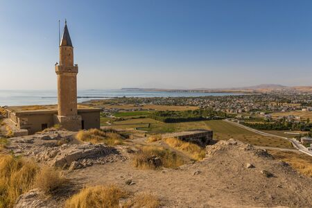 Van, Turkey - at the border with Iran, Van and its wonderful lake are splendid places to visit. Here in the picture the Old Town and the Van Lake seen from the castle Stock Photo