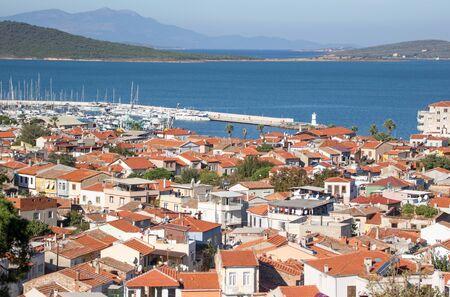 Ayvalik, Turkey - a splendid village on the Aegean coast of Turkey, Ayvalik is presents a wonderful display of typical ottoman houses, with their red roofs Imagens