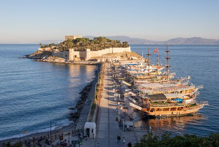 Kusadasi, Turkey - a wonderful city on the Aegean Sea and a famous resort town, Kusadasi displays a typical ottoman Old Town. Here in particular the Bird Island and it's fortress