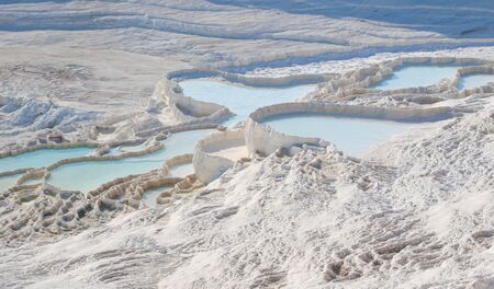 Pamukkale, Turkey - one of the most famous attractions of Turkey, Pamukkale is visited by millions each year. Here in particular the white travertine terraces