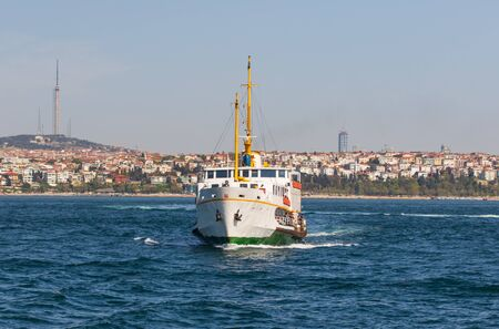 Istanbul, Turkey - a natural separation between Europe and Asia, the Bosporus is a main landmark in Istanbul. Here in particular a glimps of its waters and buildings