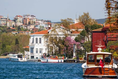 Istanbul, Turkey - a natural separation between Europe and Asia, the Bosporus is a main landmark in Istanbul. Here in particular the typical Ottoman Houses