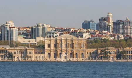 Istanbul, Turkey - built in 1843, and main administrative center of the Ottoman Empire, the Dolmabahçe Palace is a major tourist attraction. Here in particular its facade