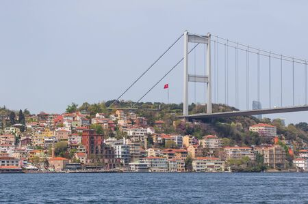 Istanbul, Turkey - completed in 1988 and one of the main landmarks in Istanbul, the Fatih Sultan Mehmet Bridge connects Europe and Asia. Here in particular the suspension bridge structure