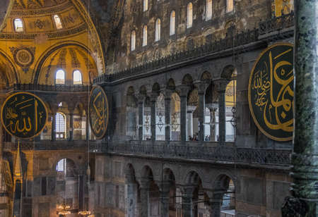 Istanbul, Turkey - a former Greek Orthodox Christian cathedral converted in a mosque and today in a museum, Hagia Sofia is a main landmark. Here in particular its frescoes and mosaics