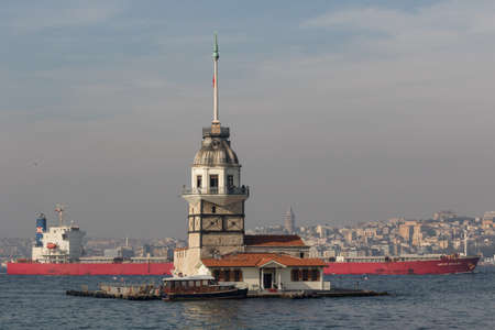 Istanbul, Turkey - one of the most recognizable landmarks of Istanbul, the Maiden's Tower stands in the middle of Bosporus, right in front of the ?sk?dar district. Here in particular its shape