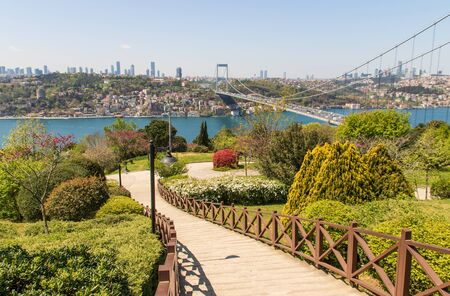 Istanbul, Turkey - completed in 1988 and one of the main landmarks in Istanbul, the Fatih Sultan Mehmet Bridge connects Europe and Asia. Here in particular the bridge seen from Fatih Korusu park