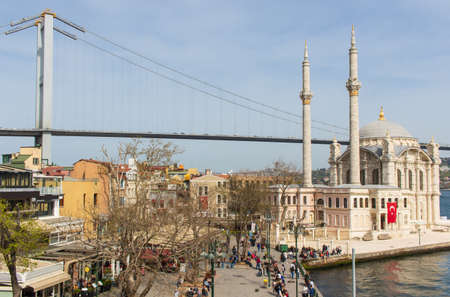 Istanbul, Turkey - completed in 1973 and one of the main landmarks in Istanbul, the 15 July Martyrs Bridge connects Europe and Asia. Here in particular the suspension bridge structure