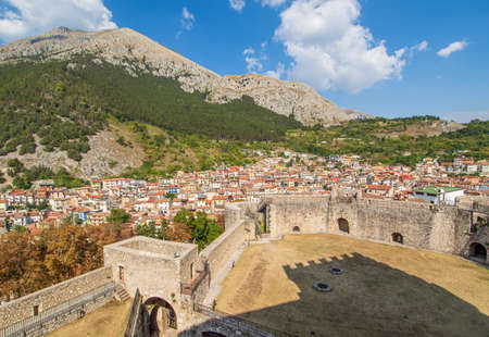 Celano, Italy - one of the most picturesque villages of the Apennine Mountains, Celano is topped by the wonderful Piccolomini Castle, dated 14th century. Here is a glimpse of the city from the castle Stock fotó