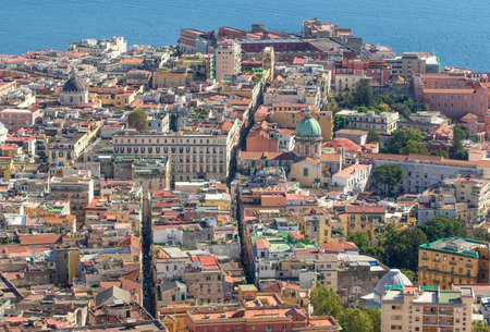 Naples, Italy - one of the most beautiful cities in Europe, Naples has its Old Town listed as Unesco World Heritage site since 1995. Here the Old Town seen from Certosa di San Martino 新聞圖片