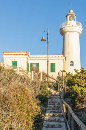 Mount Circeo, Italy - a wonderful peak which is famous among trekkers and hikers, Mount Circeo is a promontory located few mililometers South of Rome. Here in the picture the local lighthouse Stok Fotoğraf