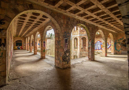 Łapalice, Poland - built in 1983 but never finished, the ruins of Łapalice Castle are an interesting tourist attractions in northern Poland. Here in particular its interiors 新聞圖片
