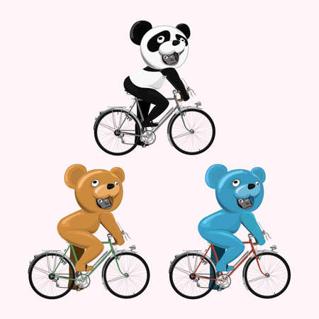 three gorillas ride a bicycle in different bear mascot costume Vector