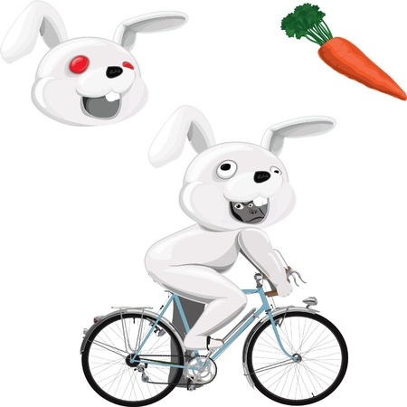 gorilla ride a bicycle in white rabbit mascot costume with additional red-eye rabbit head and carrot Illustration