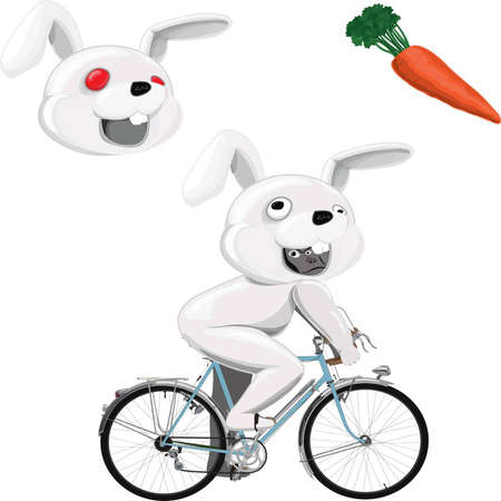 redeye: gorilla ride a bicycle in white rabbit mascot costume with additional red-eye rabbit head and carrot Illustration