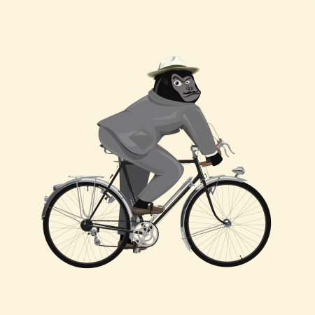 monkey suit: gorilla in vintage boutique costume ride a bicycle