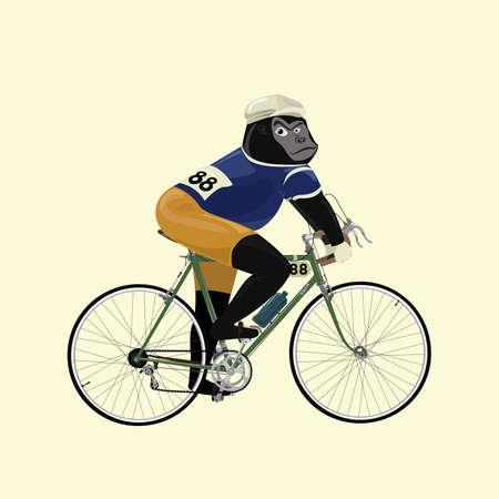 gorilla in vintage fiets racer kostuum fietsen