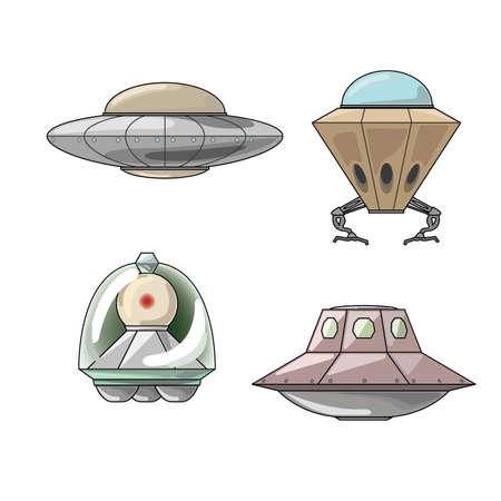 Types of UFO craft isolated on white background