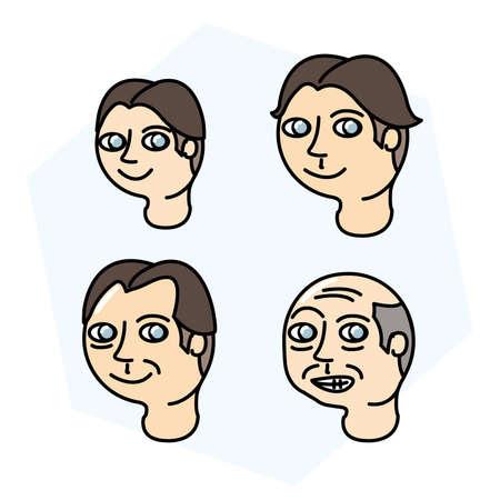 Types of men s age face Illustration