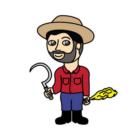 paddy field: Farmer man holding sickle and rice straw Illustration