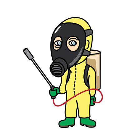 devastate: man in pesticide suit holding a insecticide dispenser Illustration