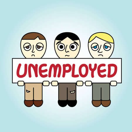dissolve: People with Unemployed banner Illustration