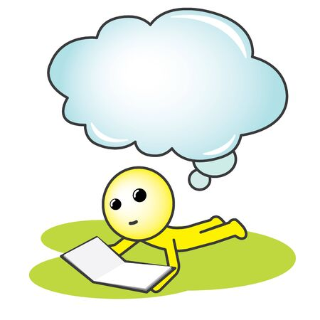 Reading man with Thinking Bubble