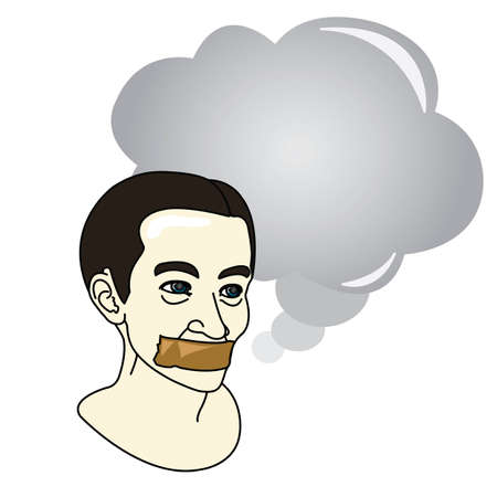 gag: Tape gag man with Thinking bubble