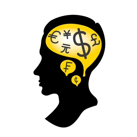intuitive: Silhouette man with Money Mind