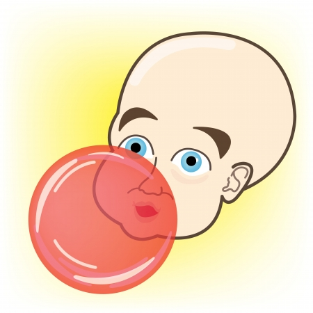 Baby blowing Bubble Gum