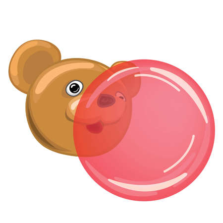 Bear blowing Bubble Gum Vector