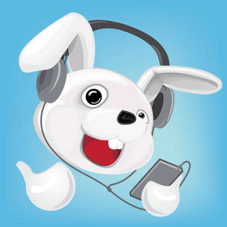 earpiece: Cartoon Rabbit Man wearing Headphone and listening to Music