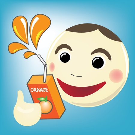 Cartoon man with Orange Juice Stock Vector - 16944171