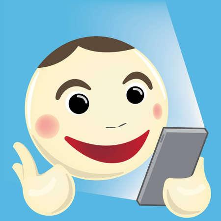 using smartphone: Cartoon man using Smartphone