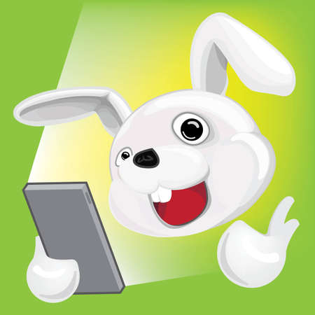 Cartoon Rabbit using Smartphone Stock Vector - 16944172