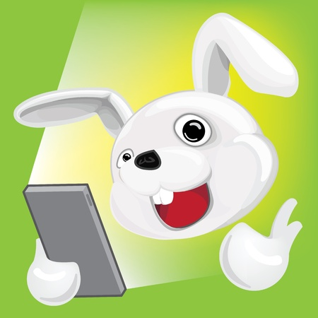 Cartoon Rabbit using Smartphone Illustration