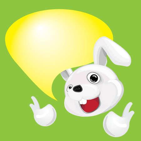 Cartoon Rabbit with Talking bubble Illustration