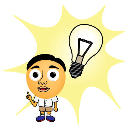 Cartoon little boy with Bright Idea Vector