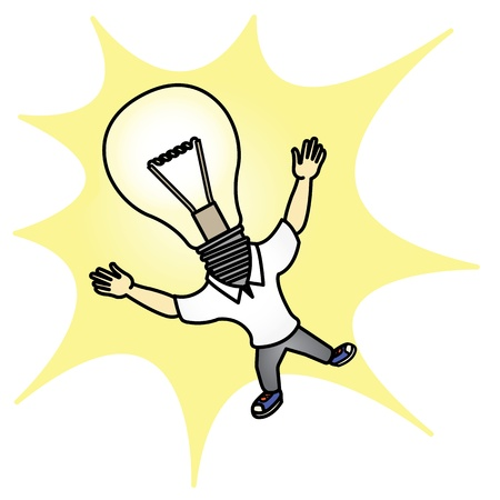 Cartoon Headlamp man with Bright Idea Illustration