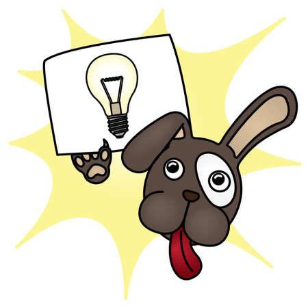 Cartoon Dog with Bright Idea paper