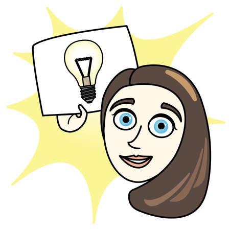 Cartoon Woman with Bright Idea paper