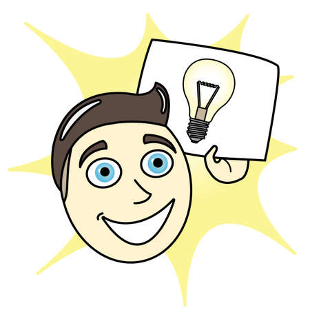Cartoon Man with Bright Idea paper Stock Vector - 16952438