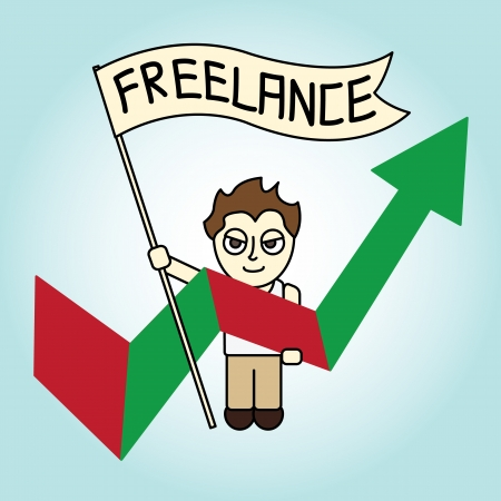 freelance: Cartoon Freelance man with Life Arrow Graph Illustration